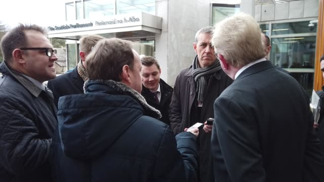 new scottish conservative leader jackson carlaw is interviewed outside the scottish parliament after announcing his shadow cabinet, on february 18,... - member of the scottish parliament stock videos & royalty-free footage