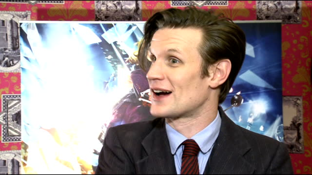 interviews matt smith interview sot talks about the new series of dr who / comparisons between dr who and james bond / talks of 50th anniversary of... - james bond film series stock videos and b-roll footage
