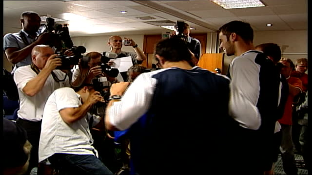 stockvideo's en b-roll-footage met new signing didier drogba arrives at chelsea fc england london int photographers crowded round three new signings for chelsea fc arjen robben petr... - new not politics