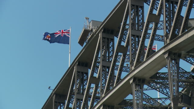 MS LA New South Wales flag on top of Sydney Harbor Bridge / Sydney, New South Wales,  Australia