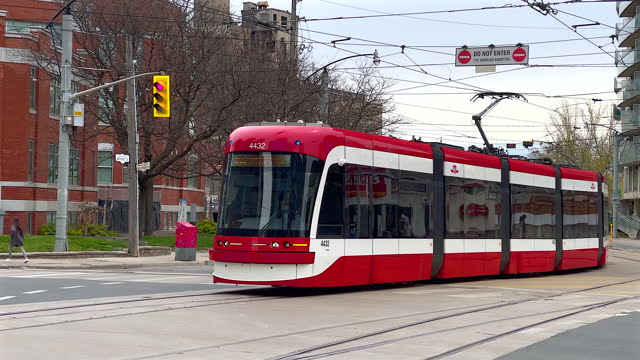 new streetcar of the brand bombardier and model flexity outlook in a city street on may 8 in toronto, canada. the ttc is the largest public... - lightweight stock videos & royalty-free footage