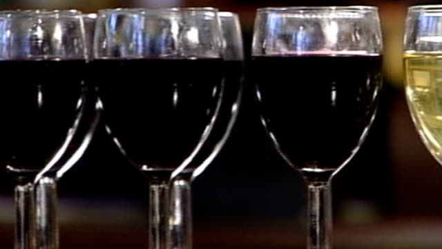 new study contradicts government advice on drinking alcohol in pregnancy row of glasses of wine glass of lager - lager stock videos & royalty-free footage