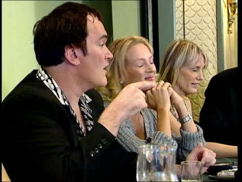 New Tarantino film 'Kill Bill' ENGLAND London Film Director Quentin Tarantino as press conference with stars of 'Kill Bill' Uma Thurman and other...