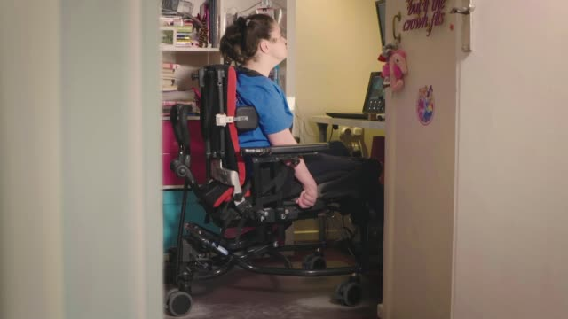 new technology opens up gaming world to severely disabled gamers becky tyler who has quadriplegic cerebral palsy sat in her chair at computer which... - cerebral palsy stock videos & royalty-free footage