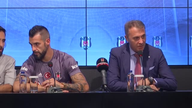 New transfer of Besiktas Alvaro Negredo Sanchez and Besiktas President Fikret Orman speak during a press conference after the signing ceremony at...