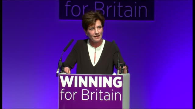 new ukip leader diane james telling theresa may and the conservative government that they steal ukip's ideas - diane james politik stock-videos und b-roll-filmmaterial