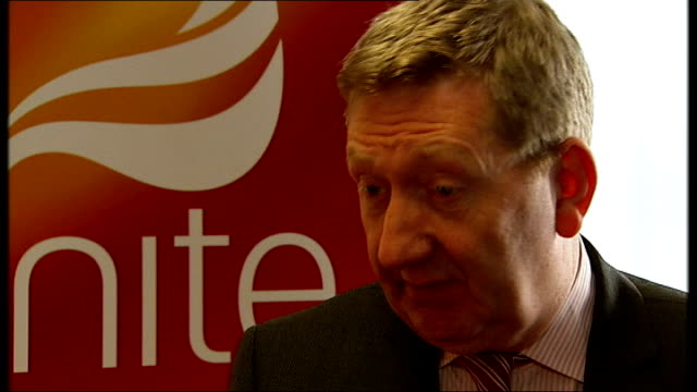 new unite leader len mccluskey interview; england: london: int len mccluskey interview sot - on likelihood of industrial action once the spending... - strike industrial action stock videos & royalty-free footage