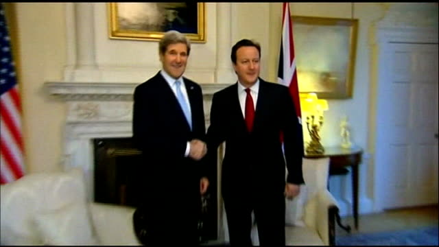 new us secretary of state john kerry visits london england london downing street ext john kerry and william hague mp from foreign office side... - breakfast room stock videos & royalty-free footage