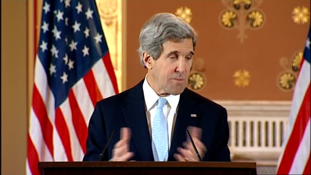 new us secretary of state john kerry visits london john kerry and william hague press conference john kerry sot thank you tremendous hospitality met... - things that go together stock videos & royalty-free footage