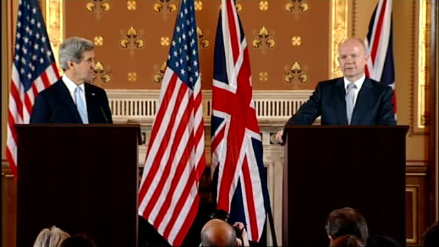 New US Secretary of State John Kerry visits London John Kerry and William Hague press conference INT John Kerry and William Hague MP into room /...