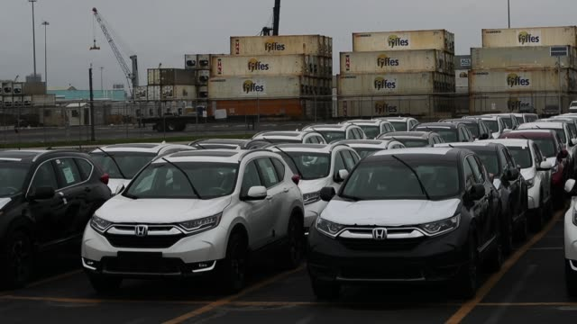 new vehicles are seen at the horizon terminal as they await to be exported from port everglades on may 22 2018 in fort lauderdale florida today... - honda stock videos & royalty-free footage