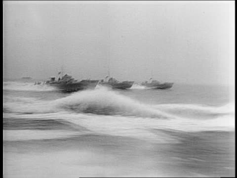 new vosper pt boats go through trials before they become part of the british navy / montage of the high speed boats moving through choppy water - barca a motore video stock e b–roll