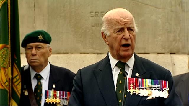 new war memorial unveiled in camden; england: london: camden: mornington crescent: ext various shots of viscount slim at podium by war memorial... - ronald searle stock videos & royalty-free footage