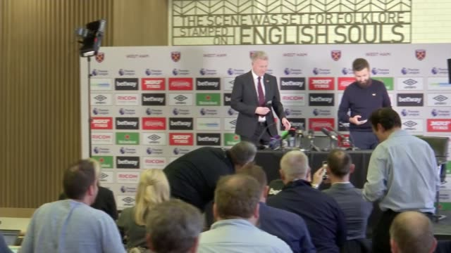 New West Ham manager David Moyes gives first press conference ENGLAND London London Stadium EXT Sign 'West Ham United' and banner 'London Stadium...