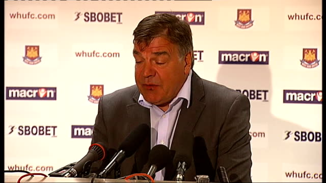 new west ham manager press conference; sam allardyce press conference sot - on winning promotion, needs to be done as quickly as possible with long... - sam west stock videos & royalty-free footage