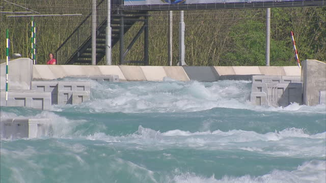a new white water rafting centre has opened ahead of the olympic games next yearthe lee valley white water centre in hertfordshire will host 5 days... - summer olympic games stock videos and b-roll footage