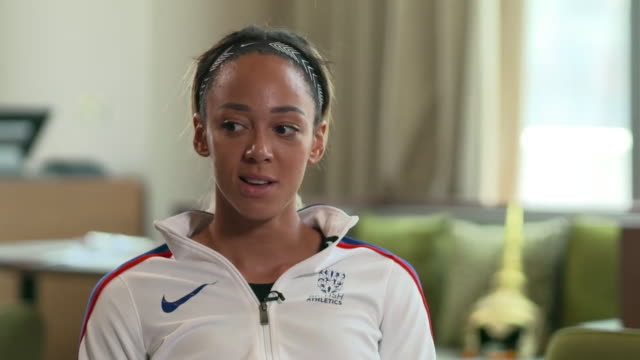 "new world hepathlon champion katarina johnson-thompson saying the gold medal ""means the world"" to her - gold stock videos & royalty-free footage"