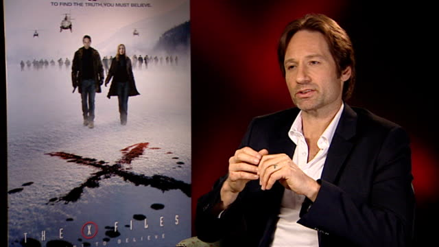 New 'X Files' film premiered ENGLAND London INT David Duchovny interview SOT Frank Spotnitz and Chris Carter interview SOT