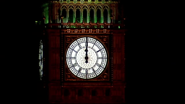 uk and world wide celebrations england london face of big ben showing midnight on new year's eve as big ben heard chiming midnight sot fireworks over... - television show stock videos & royalty-free footage
