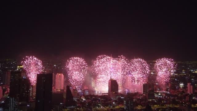 new year 2019 celebrations at bangkok, thailand - firework display stock videos & royalty-free footage