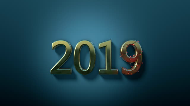 New Year 2019 Text Animation With Lights And Confetti Stock