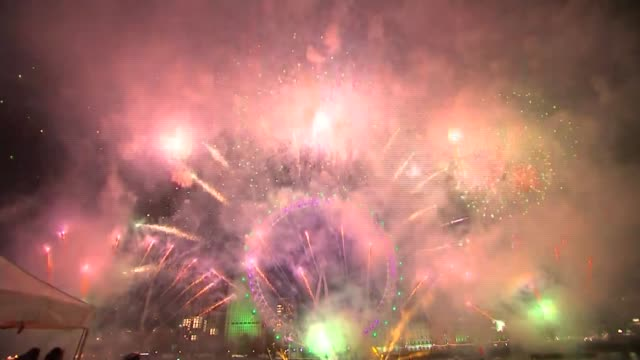 london fireworks; england: london: ext / night gvs fireworks by london eye - new stock videos & royalty-free footage