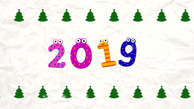 2019 new year abstract background with cartoon numbers (loopable) - poster template stock videos and b-roll footage