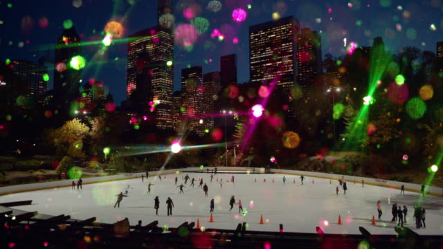 new year and christmas colored glitter ice skating central park - ice skating stock videos & royalty-free footage