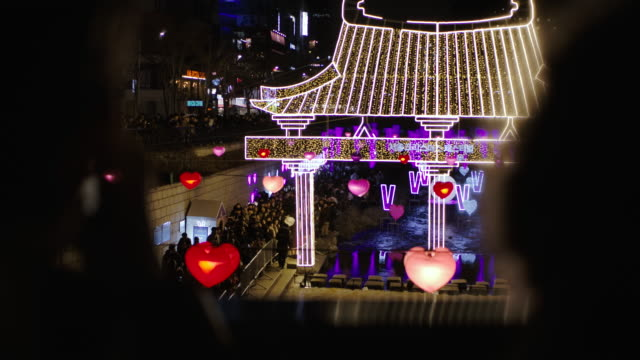 new year celebration event in seoul south korea at night - korean culture stock videos & royalty-free footage