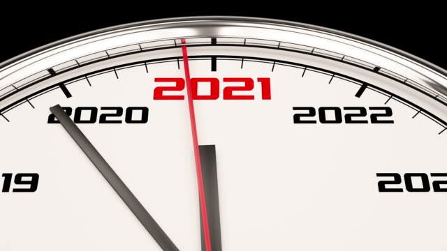 2021 new year clock. full hd 1080p video with alpha channel - time stock videos & royalty-free footage