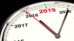 2019 New Year Clock. HD Video with Alpha Channel