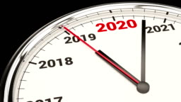 2020 New Year Clock. HD Video with Alpha Channel