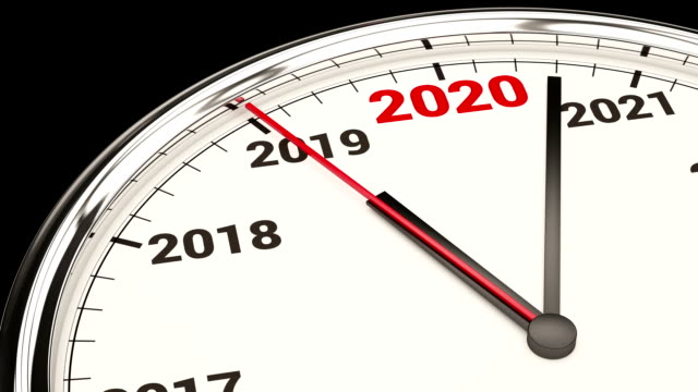 2020 new year clock. hd video with alpha channel - 2020 business stock videos and b-roll footage