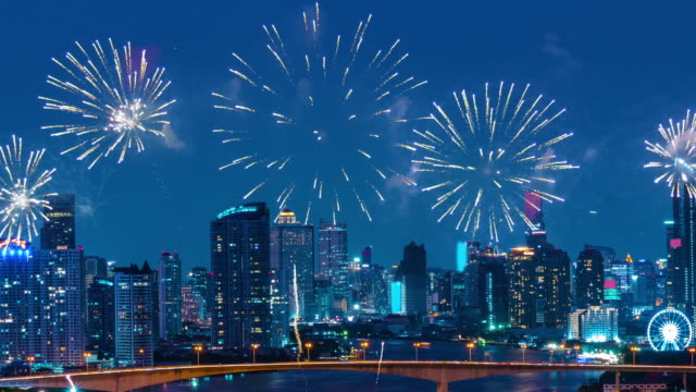 new year firework 2019 over the landmark city. - new year's eve stock videos & royalty-free footage