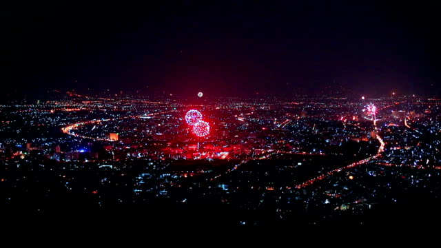 New Year Fireworks Over City in Chiangmai, Thailand