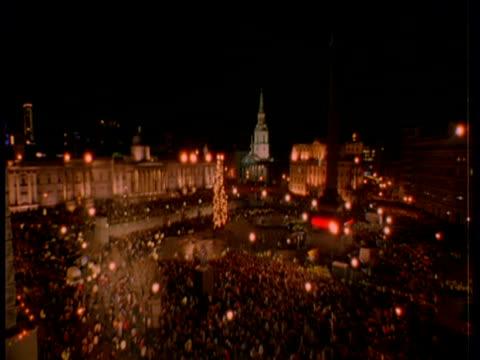 New year in Trafalgar Square, Big Ben clock and workings, fireworks over Tower bridge, London