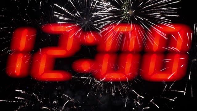 New year midnight countdown fireworks celebration.