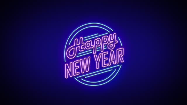 new year neon sign - neon stock videos & royalty-free footage