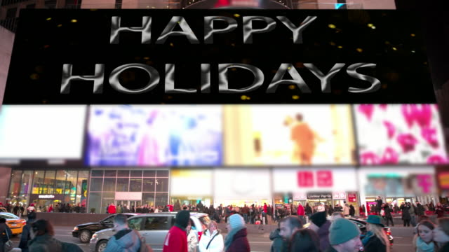 new year new york happy holidays times square people billboards - happy holidays stock videos & royalty-free footage