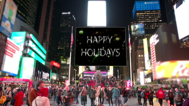 new year new york times square people billboards happy holidays - happy holidays stock videos & royalty-free footage