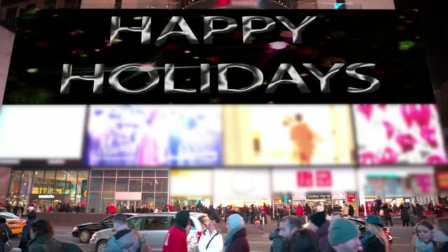 new year new york times square people happy holidays billboards - happy holidays stock videos & royalty-free footage
