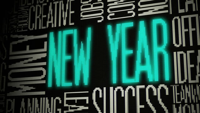 new year on digital screen - inspiration board stock videos and b-roll footage
