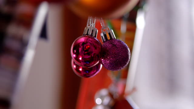 new year purple decorations.beautiful christmas ornaments. - isolated colour stock videos & royalty-free footage