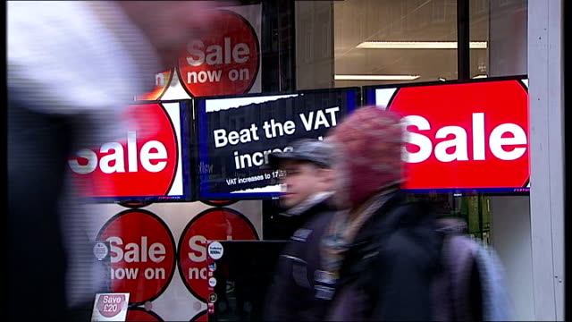 new year rises in vat stamp duty threshold and rail prices england london oxford street shoppers to and fro in street male shopper running gv... - vat stock videos & royalty-free footage