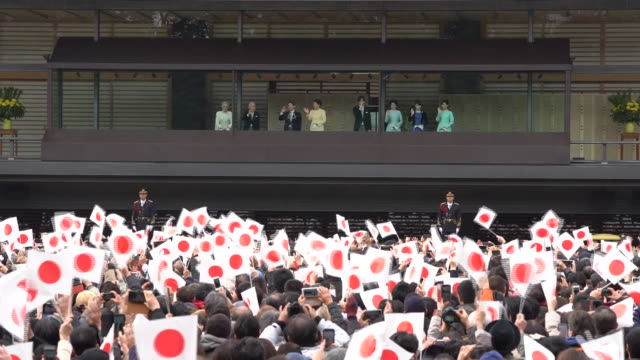 new year's appearance by japanese royal family at imperial palace, tokyo, japan, on thursday, january 2, 2020. - öffentlicher auftritt stock-videos und b-roll-filmmaterial