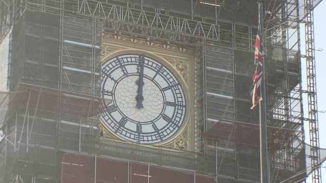 big ben bongs tested ahead of new year's eve; england: london: westminster: ext big ben clockface as bongs sound for midday sot / close shot of... - big ben stock videos & royalty-free footage