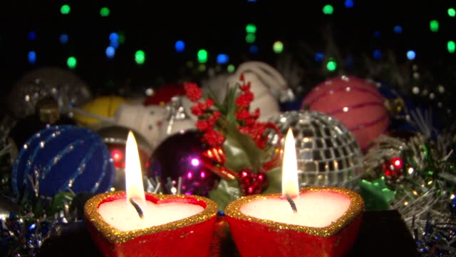 new years eve and christmas decoration - christmas decore candle stock videos & royalty-free footage