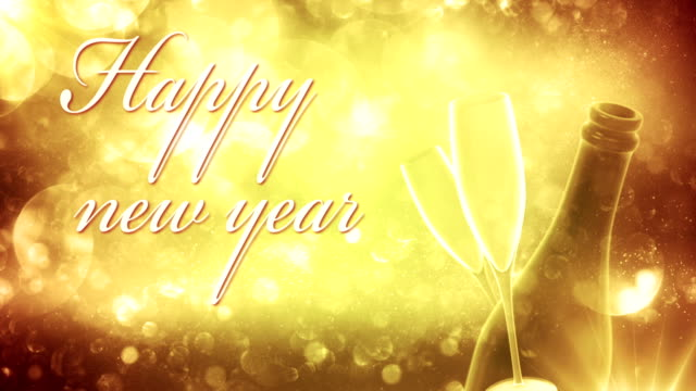 new years eve background (golden, with text) - loop - adobe after effects stock videos and b-roll footage