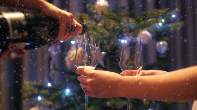 new years eve champagne toast. - champagne flute stock videos and b-roll footage