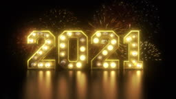 New year's eve countdown to 2021 with fireworks and blinking lights